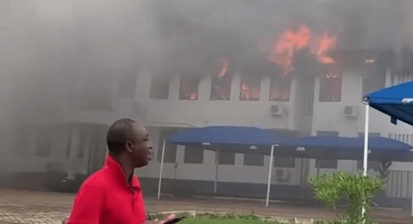 Fire ravages Mampong Technical administration block