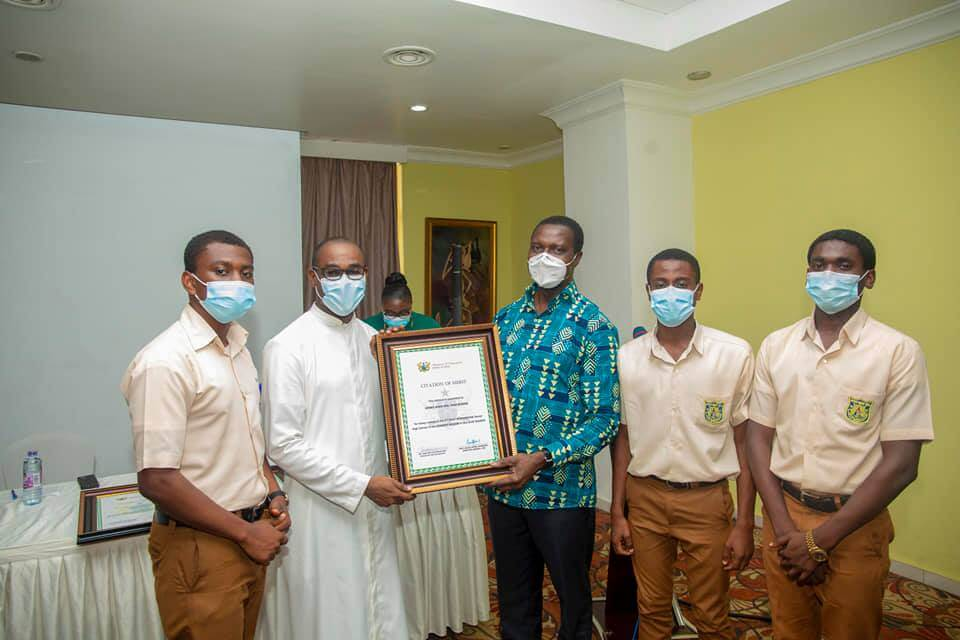 Education Minister presents citation to best A/R 2020 WASSCE SHSs